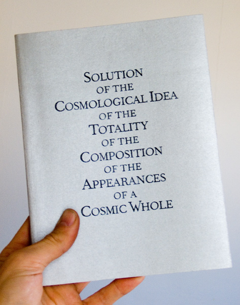 Cover of the Book 'Solution of the Cosmological Idea of the Totality of the Composition of the Appearances of a Cosmic Whole'